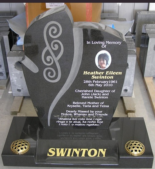 CARVED ROSE HEADSTONE WITH MAORI DESIGN