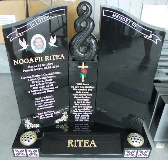 M MADONNA STONE WITH ETERNITY CARVING IN EMERALD GREEN GRANITE