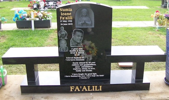 M CUSTOM DOUBLE SEAT HEADSTONE WITH CARVED MARY IMAGE AND RAYZIST IMAGES