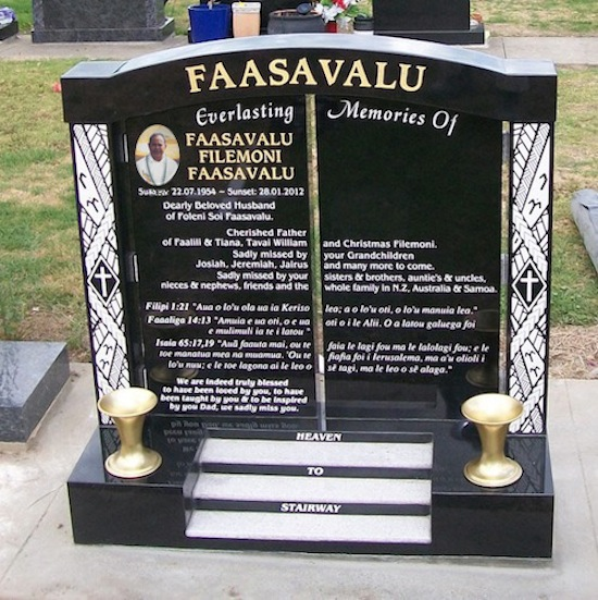 MIX CUSTOM STAIRWAY TO HEAVEN HEADSTONE WITH WHITE PEARL INLAY ON STEPS