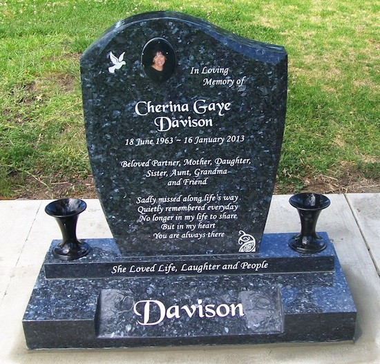 MIXED 550 x 700 WAVE HEADSTONE ON PLINTH SPLAY EMERALD PEARL GRANITE