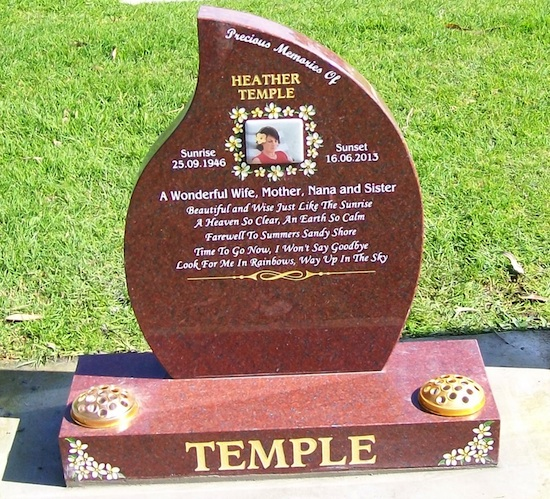 MIXED 550x700 TEARDROP HEADSTONE INDIAN RED GRANITE ON STANDARD BASE