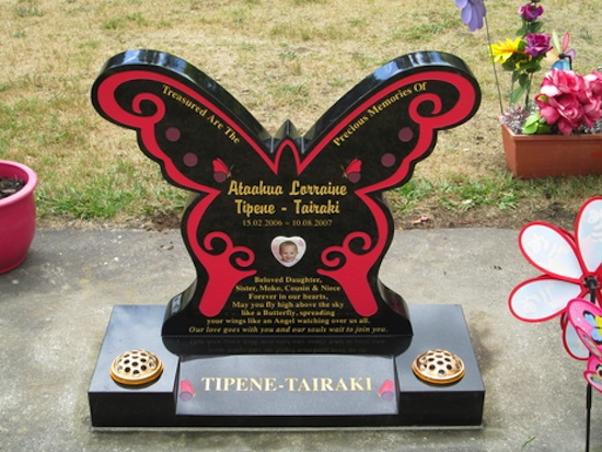 MIXED BUTTERFLY HEADSTONE ON SPLAY BASE IN BLACK GRANITE