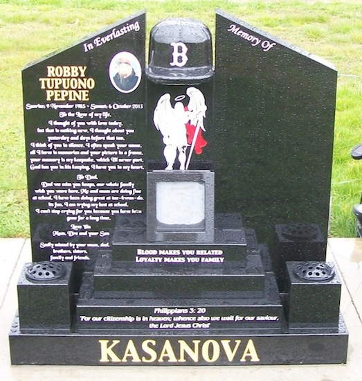MIXED CUSTOM CAP HEADSTONE WITH SQAURE STEPS AND FLOWER POTS IN BLACK GRANITE