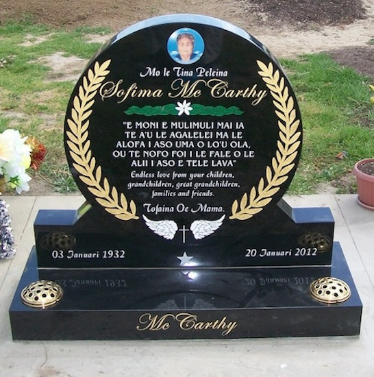 MIXED CUSTOM RAISED CIRCLE HEADSTONE ON STANDARD BASE WITH GOLD FERNS ARTWORK