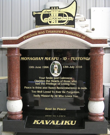 MIXED CUSTOM TRUMPET HEADSTONE WITH INDIAN RED PILLARS AND WHITE PEARL ROOF INSERTS