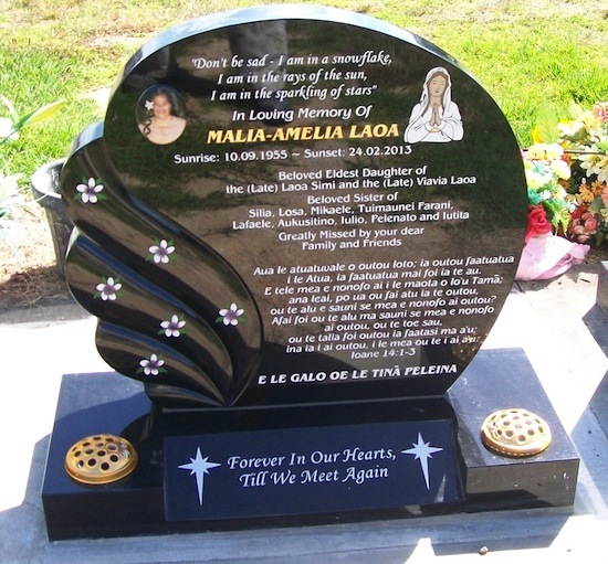 MIXED FLOWER SPECIAL SPLAY BASE IN BLACK GRANITE WITH ARTWORK OF MARY