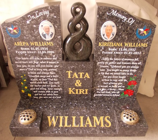 MIXED MADONNA HEADSTONE IN BLUE PEARL GRANITE AND KERALA GREEN KORO CARVING